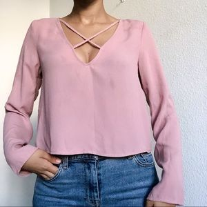 Blush pink F21 low cut blouse